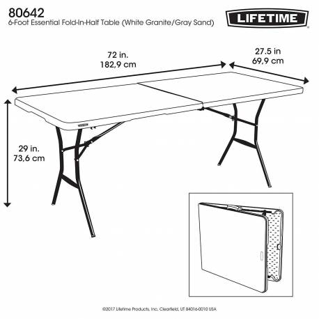 Lifetime plastique, table pliante, table de camping, 183 x 70 x 74 cm