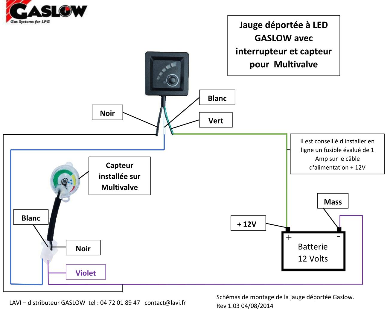 schéma de montage jauge électronique gaslow
