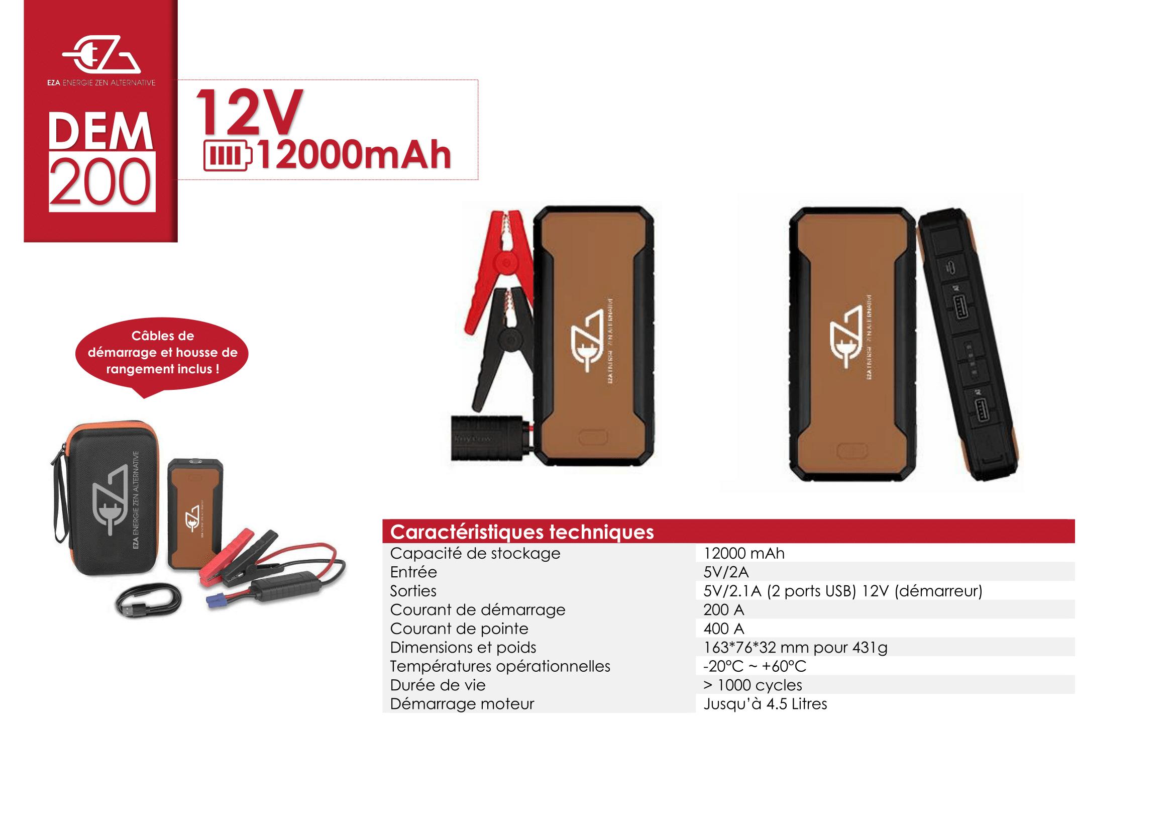 démarreur de batterie portable avec pince