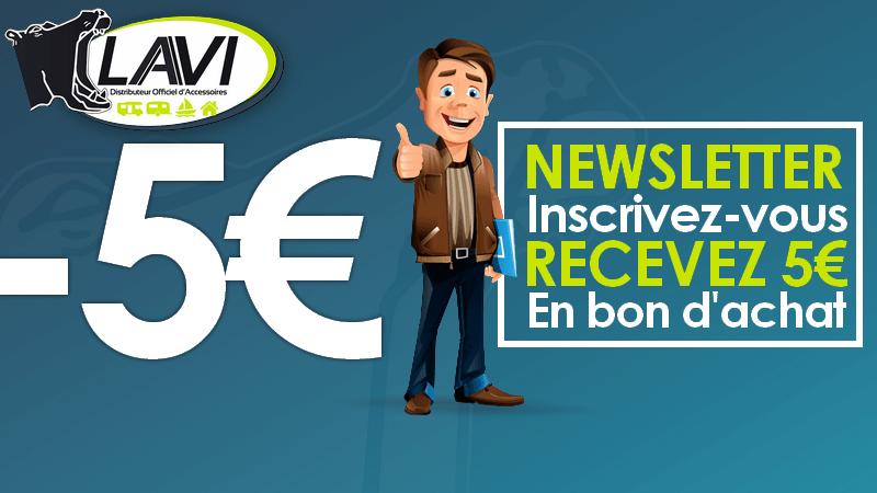 5€ de réduction en s'inscrivant à la newsletter